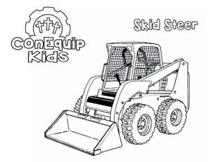 ConEquip Kids Construction Coloring skid </a>steer